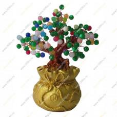 Дерево счастья из кошачьего глаза ( искусственный) в денежном мешке, большое.