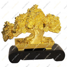 Дерево - Бонсай в монетах и слитках на деревянной подставке. Среднее.