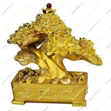 Дерево - Бонсай в монетах и слитках в золотой кадке. Большое.