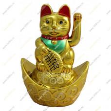 """Кот удачи и счастья """"Манеки-неко на слитке"""" 14см"""