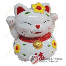 """Кот удачи и счастья """"Манеки-неко"""" (копилка 14 см. белая)"""