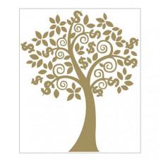 """Наклейка """"Золотое денежное дерево с денежными знаками """" для богатства и изобилия"""