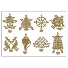 """Наклейка """" Восемь Благоприятных Символов"""" для привлечения удачи"""