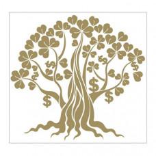 """Наклейка """"Золотое денежное дерево с листьями клевера и денежных знаков """" для богатства и изобилия"""