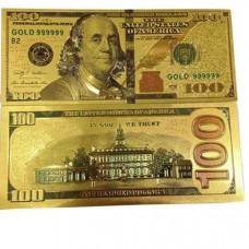 """Золотая купюра """"Доллары"""" -100$"""