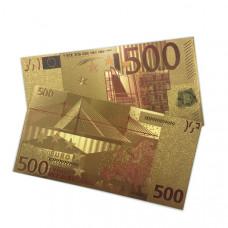 "Золотая банкнота 500 Евро цветная.   Двухсторонняя"""