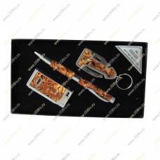 """Подарочный набор 3 в 1 """"Перламутр"""", брелок нож,  ручка и зажигалка."""