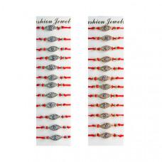 Набор браслетов в стразах Глаз Фатимы на красной нитке