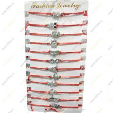Набор браслетов на красной нитке (стразы)№2